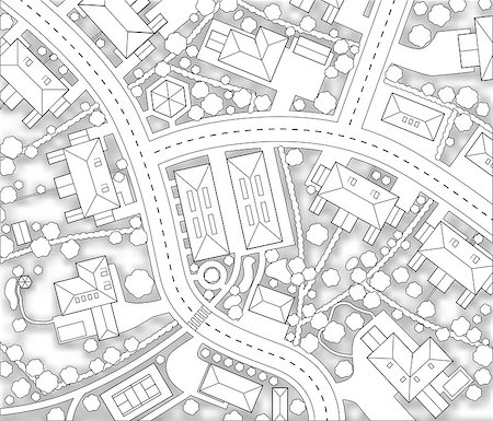 Editable vector cutout map of a generic residential area with background shadow made using a gradient mesh Stock Photo - Budget Royalty-Free & Subscription, Code: 400-04399200