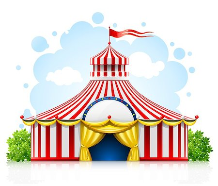 striped strolling circus marquee tent with flag vector illustration isolated on white background Stock Photo - Budget Royalty-Free & Subscription, Code: 400-04399304