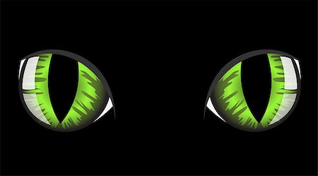 green cat eyes on black background Stock Photo - Budget Royalty-Free & Subscription, Code: 400-04399380