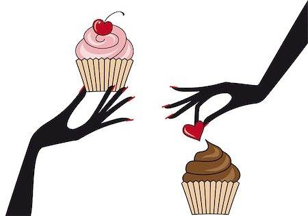 female hand holding cupcakes, vector illustration Stock Photo - Budget Royalty-Free & Subscription, Code: 400-04399780