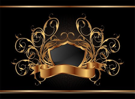 Illustration golden ornate frame for design - vector Stock Photo - Budget Royalty-Free & Subscription, Code: 400-04390441