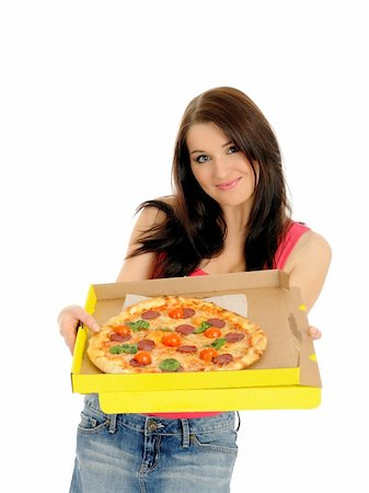 fat italian woman - Pretty young casual woman with tasty pizza in delivery paper box. isolated on white background Stock Photo - Budget Royalty-Free & Subscription, Code: 400-04390891