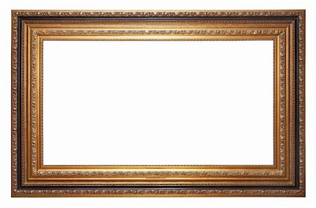 Gold old picture frame isolated on white Stock Photo - Budget Royalty-Free & Subscription, Code: 400-04391609