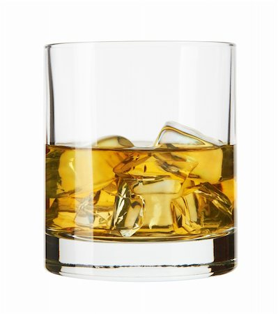 Whiskey glass. Isolated on white with reflection Stock Photo - Budget Royalty-Free & Subscription, Code: 400-04391624