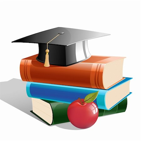 illustration of books with hat and apple on white background Stock Photo - Budget Royalty-Free & Subscription, Code: 400-04391742