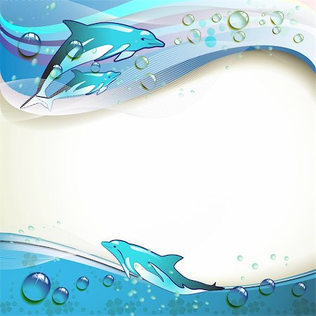 Background with dolphins and drops of water Stock Photo - Budget Royalty-Free & Subscription, Code: 400-04391983