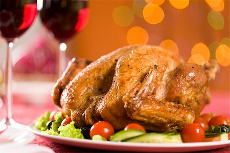 simsearch:400-05749231,k - Image of roasted turkey on Christmas dinner table Stock Photo - Budget Royalty-Free & Subscription, Code: 400-04392579
