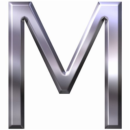 fancy letters - 3d silver letter M isolated in white Stock Photo - Budget Royalty-Free & Subscription, Code: 400-04392790