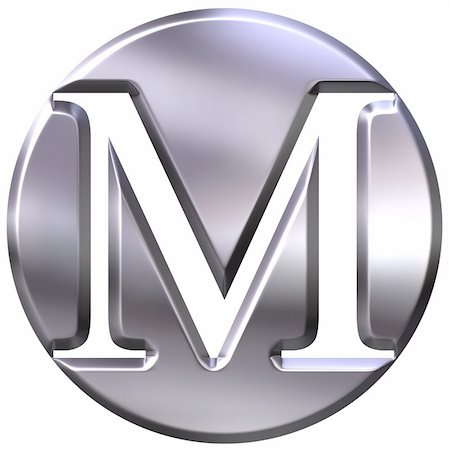 fancy letters - 3d silver letter M isolated in white Stock Photo - Budget Royalty-Free & Subscription, Code: 400-04392791