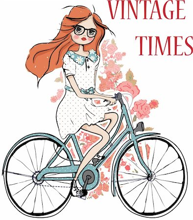 female lips drawing - fashion girl with flower and bicycle   illustration sketch drawing penciled vector Stock Photo - Budget Royalty-Free & Subscription, Code: 400-04393059