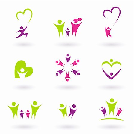 family abstract - People abstract icons isolated on white. Vector Illustration. Stock Photo - Budget Royalty-Free & Subscription, Code: 400-04393105