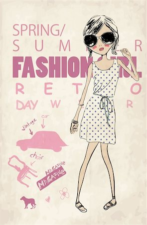 illustration retro fashion girl  vector drawing penciled sketch Stock Photo - Budget Royalty-Free & Subscription, Code: 400-04393100