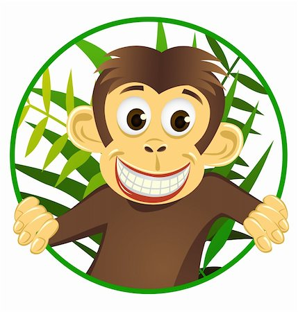 smiling chimpanzee - Chimpanzee cartoon vector Stock Photo - Budget Royalty-Free & Subscription, Code: 400-04393518