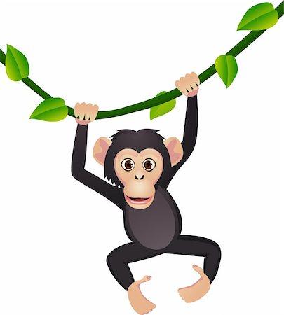 smiling chimpanzee - Chimpanzee cartoon Stock Photo - Budget Royalty-Free & Subscription, Code: 400-04393529