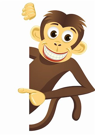 smiling chimpanzee - Chimpanzee cartoon vector Stock Photo - Budget Royalty-Free & Subscription, Code: 400-04393574