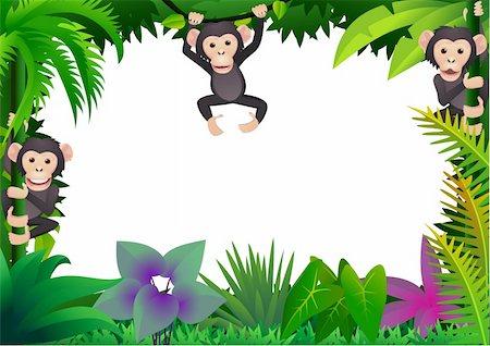 smiling chimpanzee - Chimpanzee cartoon vector Stock Photo - Budget Royalty-Free & Subscription, Code: 400-04393575