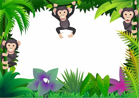 smiling chimpanzee - Chimpanzee cartoon vector Stock Photo - Budget Royalty-Free & Subscription, Code: 400-04393575