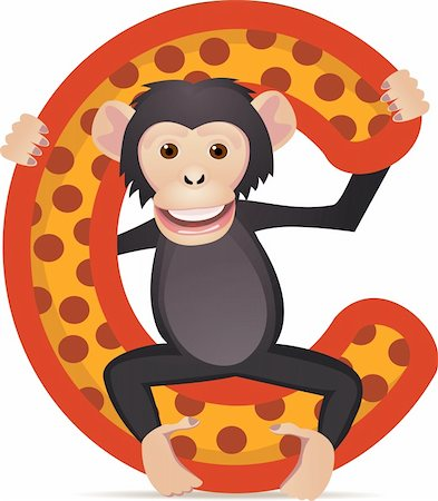 scalable - animal alphabet C with Chimpanzee cartoon Stock Photo - Budget Royalty-Free & Subscription, Code: 400-04393576