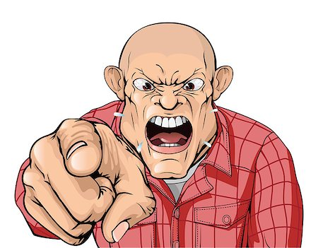 skinhead - An angry man with shaved head shouting and pointing Stock Photo - Budget Royalty-Free & Subscription, Code: 400-04404535