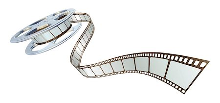 film strip - Movie film spooling out of film reel. Symbol for cinema. Stock Photo - Budget Royalty-Free & Subscription, Code: 400-04404541