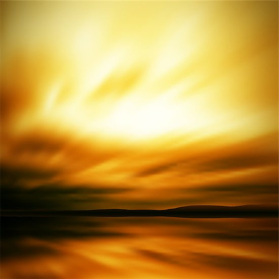 Editable vector illustration of a blurred sky and lake landscape made using a gradient mesh Stock Photo - Royalty-Free, Artist: tawng, Image code: 400-04404847