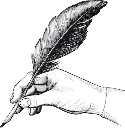 Vintage drawing of hand with a feather pen in style of an engraving Stock Photo - Budget Royalty-Free & Subscription, Code: 400-04405377