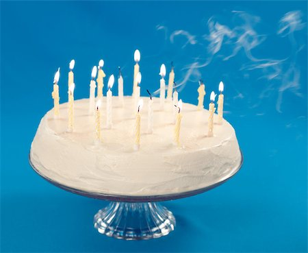 Birthday cake with smoke coming from blown out candles Stock Photo - Budget Royalty-Free & Subscription, Code: 400-04406250