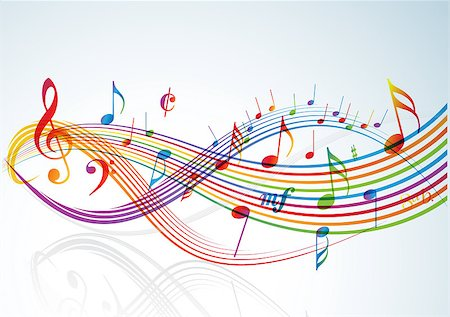 simsearch:400-04676325,k - Music theme - rainbow notes on light background Stock Photo - Budget Royalty-Free & Subscription, Code: 400-04406340