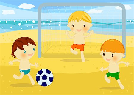 Summer time digital illustration with children having fun at seaside Stock Photo - Budget Royalty-Free & Subscription, Code: 400-04406428