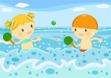 Summer time digital illustration with children having fun at seaside Stock Photo - Budget Royalty-Free & Subscription, Code: 400-04406430