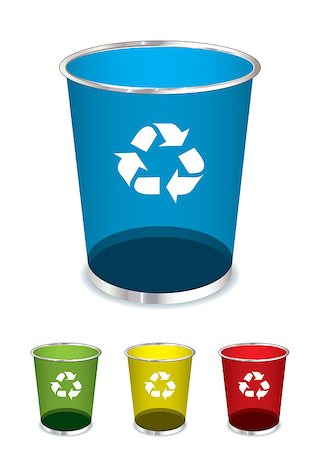 Bright glass recycle trash can icons or symbols Stock Photo - Budget Royalty-Free & Subscription, Code: 400-04407143