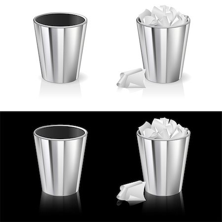 Set of Garbage can. Isolated on white and black background. Stock Photo - Budget Royalty-Free & Subscription, Code: 400-04407188