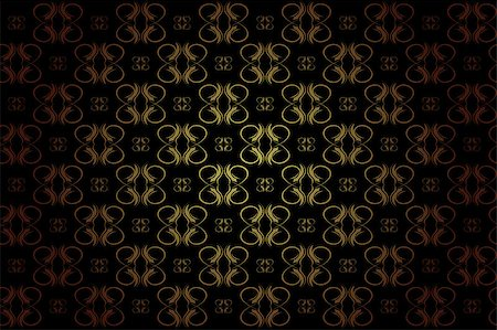 Vintage Wallpaper - Golden Ornaments on Black Background Stock Photo - Budget Royalty-Free & Subscription, Code: 400-04407235