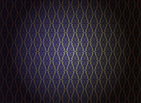 Vintage Wallpaper - Golden Ornaments on Dark Blue Background Stock Photo - Budget Royalty-Free & Subscription, Code: 400-04407233