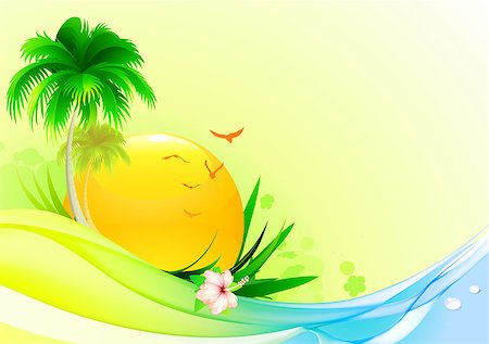 Vector illustration of funky summer  background with palm tree, hibiscus flower and  idyllic sun Stock Photo - Budget Royalty-Free & Subscription, Code: 400-04407246