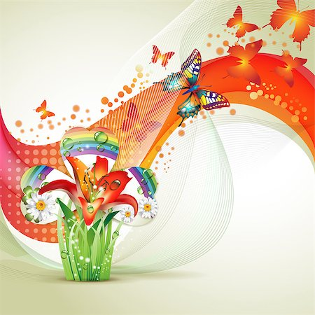 Colorful background with butterfly and flowers Stock Photo - Budget Royalty-Free & Subscription, Code: 400-04407494