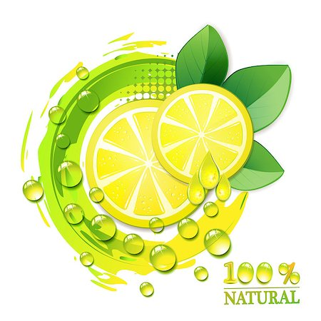 Slices yellow lemon with drops and leaf Stock Photo - Budget Royalty-Free & Subscription, Code: 400-04407526