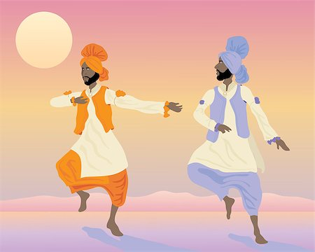 punjabi - an illustration of two punjabi dancers with colorful traditional clothing dancing under a sunset sky Stock Photo - Budget Royalty-Free & Subscription, Code: 400-04407711