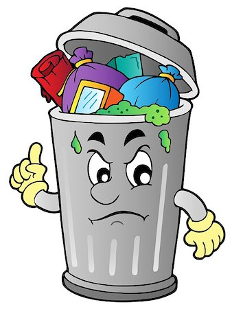 Angry cartoon trash can - vector illustration. Stock Photo - Budget Royalty-Free & Subscription, Code: 400-04407780
