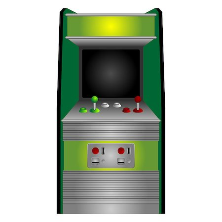 scalable - Vintage arcade machine isolated over white background Stock Photo - Budget Royalty-Free & Subscription, Code: 400-04408451