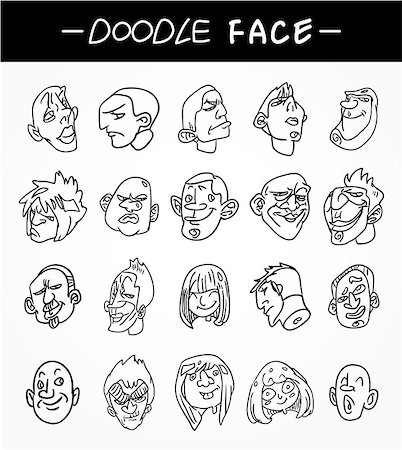 hand draw people face icons set Stock Photo - Budget Royalty-Free & Subscription, Code: 400-04408477