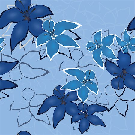 Blue vector  seamless flower background pattern, floral vintage illustration. Cute backdrop in jeans style. Stock Photo - Budget Royalty-Free & Subscription, Code: 400-04408492