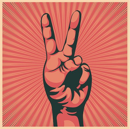 Vector illustration in retro style of a hand with victory sign Stock Photo - Budget Royalty-Free & Subscription, Code: 400-04408670