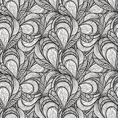 flower clipart paint - vector seamless abstract floral pattern, monochrome, 4 clipping masks Stock Photo - Budget Royalty-Free & Subscription, Code: 400-04408819