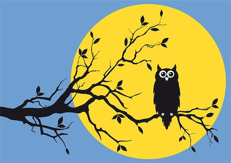 simsearch:400-04399778,k - night owl on tree branch, vector background Stock Photo - Budget Royalty-Free & Subscription, Code: 400-04409562