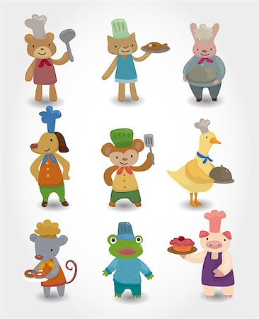 cartoon animal chef icons set Stock Photo - Budget Royalty-Free & Subscription, Code: 400-04409659