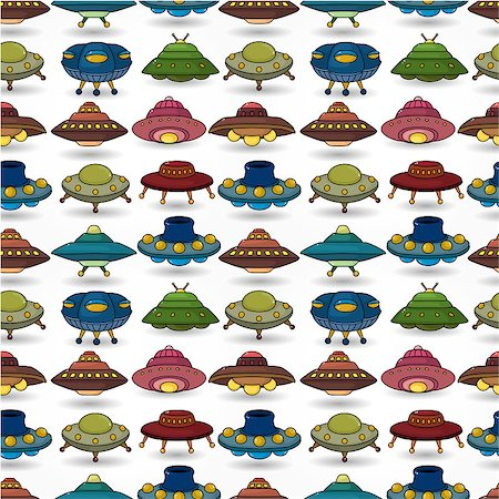 cartoon ufo spaceship seamless pattern Stock Photo - Budget Royalty-Free & Subscription, Code: 400-04409673