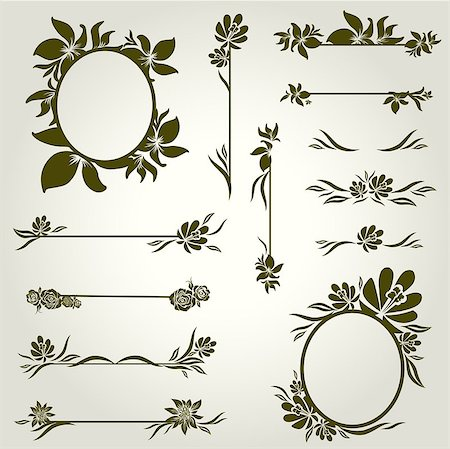 "Vector set of vintage design elements with flowers (from my big ""Floral collection"") Stock Photo - Budget Royalty-Free & Subscription, Code: 400-04409834"