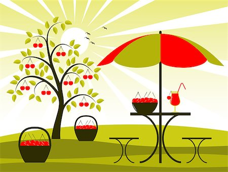vector cherry tree, baskets of cherries and table with umbrella, Adobe Illustrator 8 format Stock Photo - Budget Royalty-Free & Subscription, Code: 400-04409893