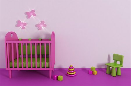 3d Girl's room in pink color and toy Stock Photo - Budget Royalty-Free & Subscription, Code: 400-04400336